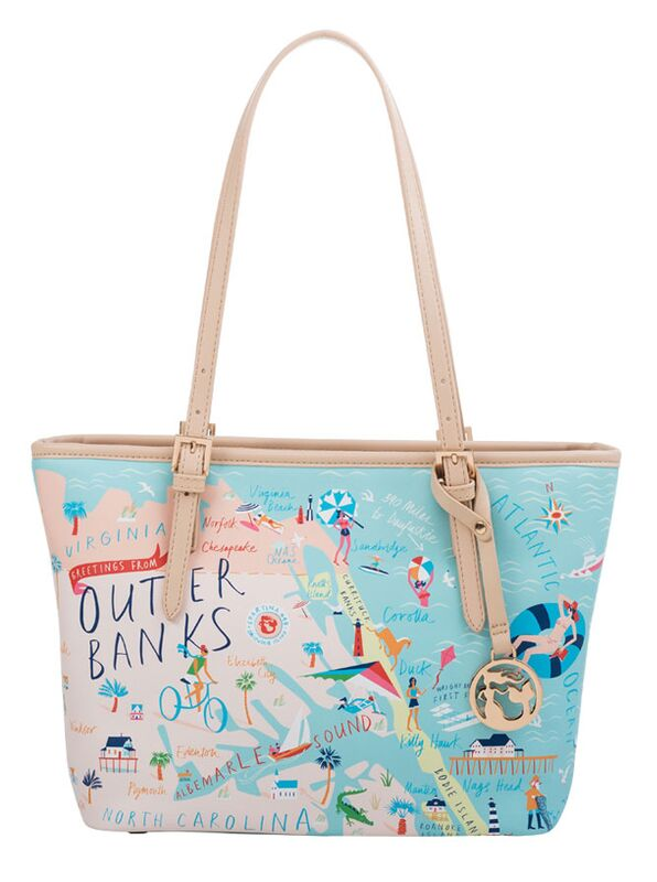 """Spartina 449 """"Greeting From"""" Small Map Tote (w/zipper) - Outer Banks"""